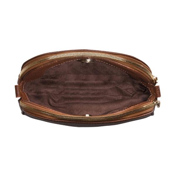 کیف دوشی زنانه چرم طبیعی آروین چرم نسکافه ای کد AR-153