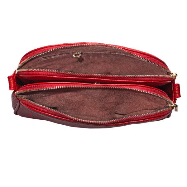 کیف دوشی زنانه چرم طبیعی آروین چرم قرمز کد AR-153 (2)
