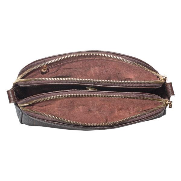 کیف دوشی زنانه چرم طبیعی آروین چرم نسکافه ای کد AR-153 (2)