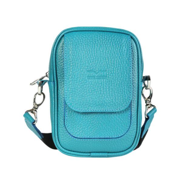 کیف دوشی اسپرت چرم طبیعی آروین چرم آبی کد AR-131