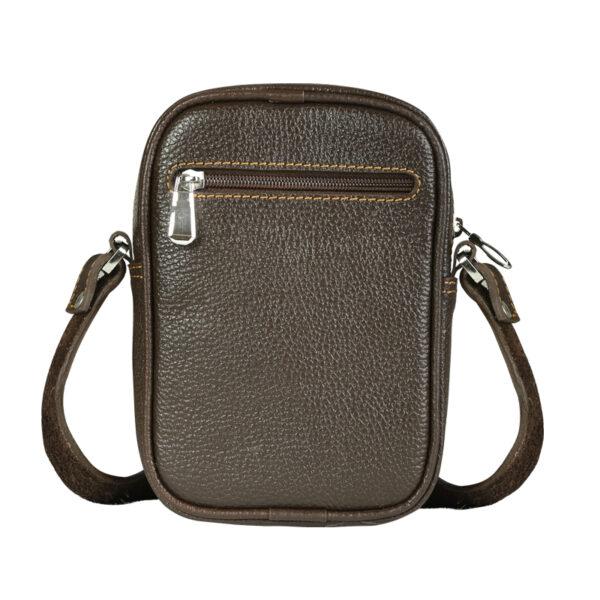 کیف دوشی اسپرت چرم طبیعی آروین چرم قهوهای تیره کد AR-131